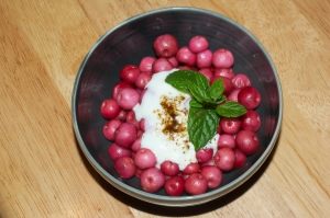 Gaultheria berries with yogurt