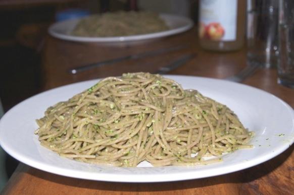 Nasturtium pesto with Spelt Spaghetti