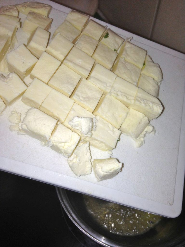 Homem ade panir cheese cut into cubes